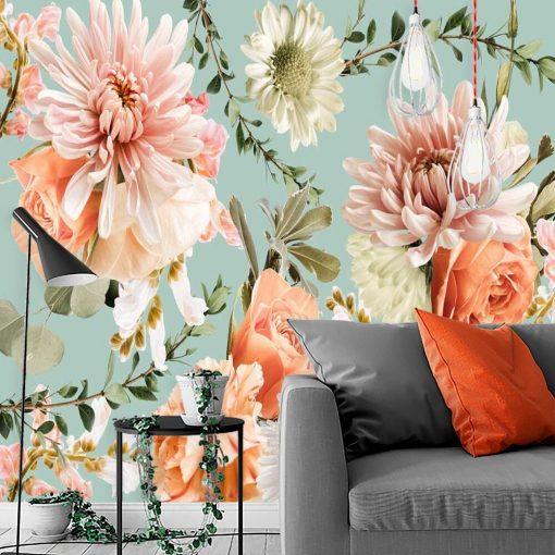 Różowe kwiaty- Delikatna fototapeta botaniczna do salonu