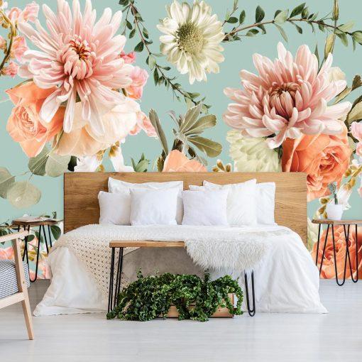 Różowe kwiaty - Delikatna fototapeta botaniczna do sypialni