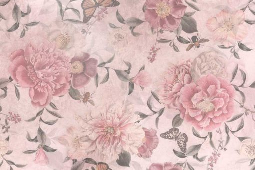 Różowe kwiaty na fototapecie prowansalskiej