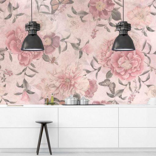Różowe kwiaty na fototapecie prowansalskiej do jadalni