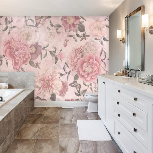 Różowe kwiaty na fototapecie prowansalskiej do łazienki
