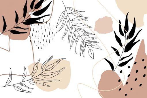 Tapeta abstrakcja i liście w stylu line-art
