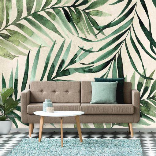 Tapeta liście palmy kokosowej do stylowej sypialni
