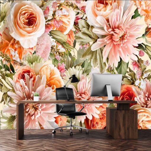 Tapeta w pomarańczowe róże do gabinetu