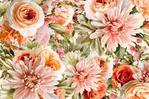 Tapeta w pomarańczowe róże do pokoju