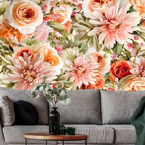Tapeta w pomarańczowe róże do salonu
