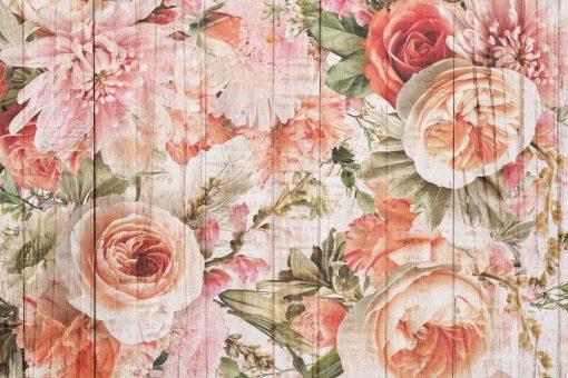 Tapeta w stylu rustykalnym z kwiatami doozdoby salonu