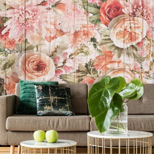 Tapeta z kwiatami na tle desek do dekoracji salonu