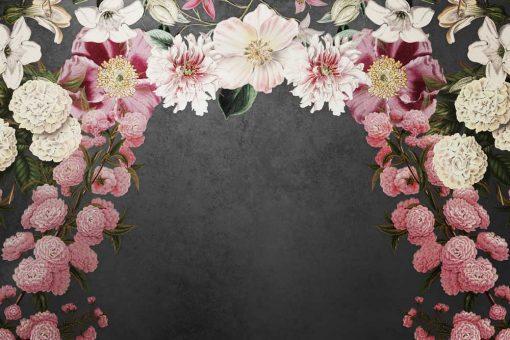 Tapeta z łukiem kwiatów w różowej tonacji