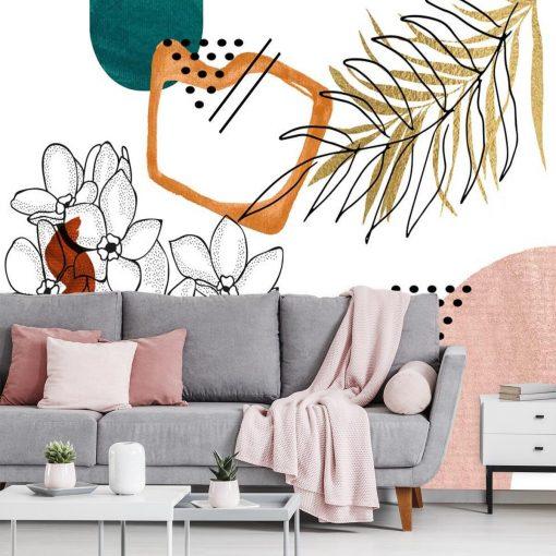 Tapeta z motywem kwiatów i abstrakcji