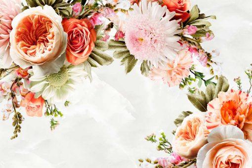Tapeta z ogrodowymi kwiatami do dekoracji salonu