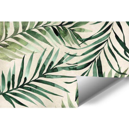 Tapeta z tropikalnymi liśćmi w zielonym kolorze