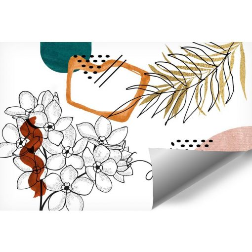 Tapeta zarys kwiatów i abstrakcja