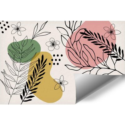 Tapety z roślinami i abstrakcją do dekoracji sypialni