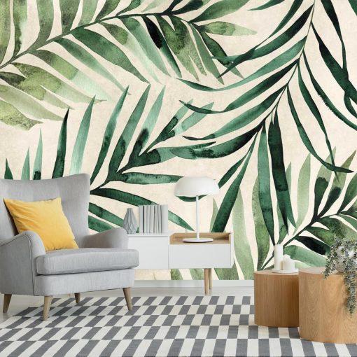 Zielone liście palmy daktylowej do ozdoby ściany w salonie
