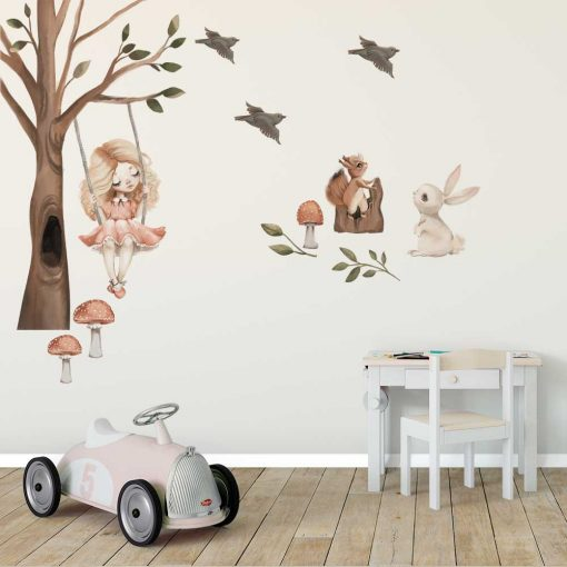 Komplet naklejek do dziecinnego pokoju - Wiewiórka