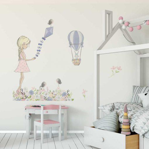 Zestaw naklejek dla dziewczynki - Fioletowy latawiec