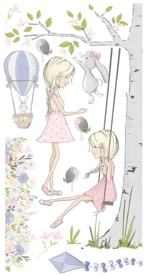 Zestaw naklejek do dziecinnego pokoju - Fioletowy latawiec