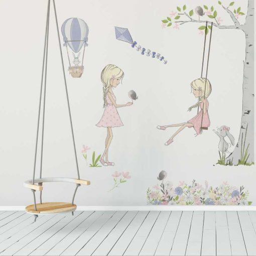 Zestaw naklejek dziecięcych - Fioletowy latawiec