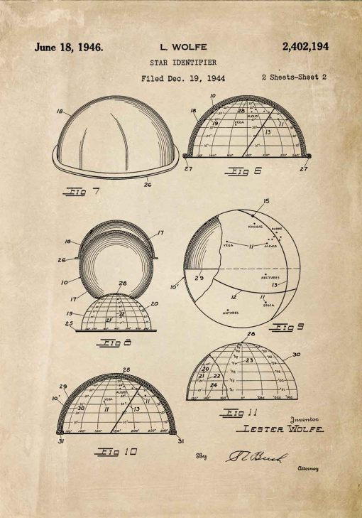 Plakat astronomiczny - Patent na identyfikator gwiazd