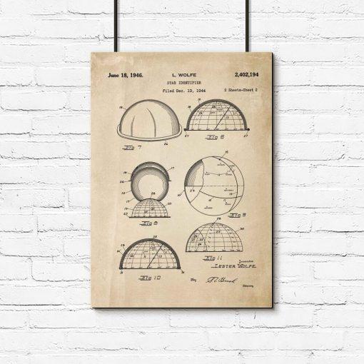 Plakat astronomiczny - Patent na identyfikator gwiazd do przedpokoju