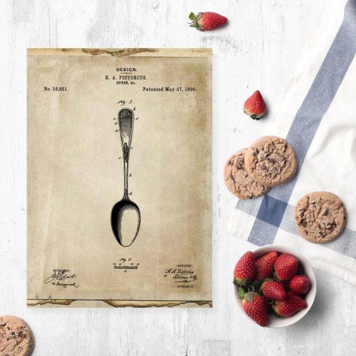 Plakat do jadalni z patentem na łyżkę
