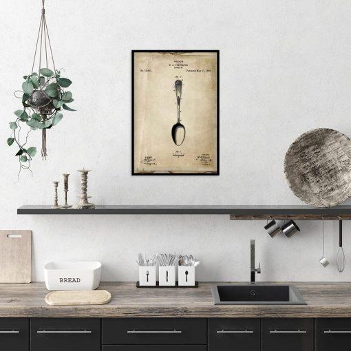 Plakat do kuchni z patentem na łyżkę