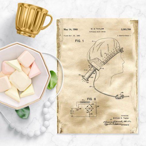Plakat do łazienki - Przenośna suszarka do włosów
