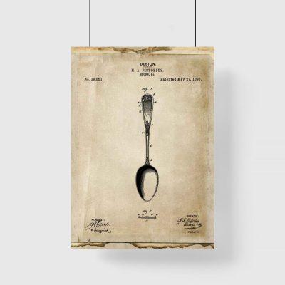Plakat do restauracji z patentem na łyżkę