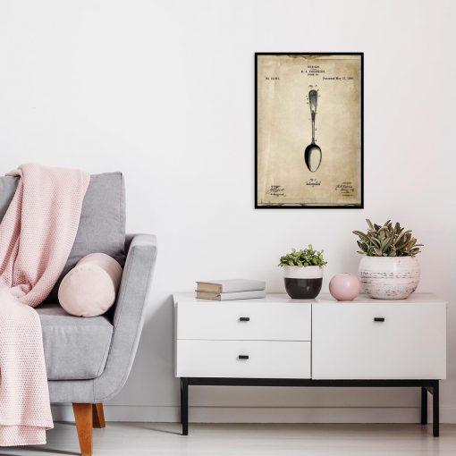 Plakat do salonu z patentem na łyżkę