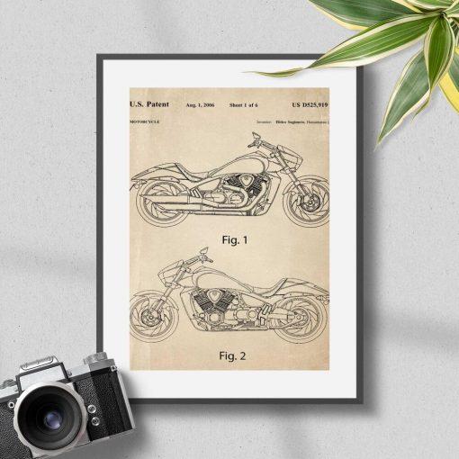 Plakat koncepcja japońskiego motocykla