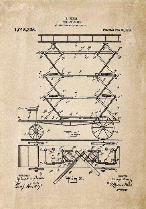 Plakat patent na drabinę do gaszenia pożarów