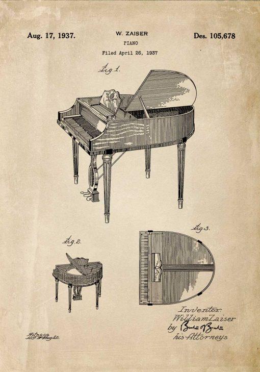 Plakat - Patent na fortepian