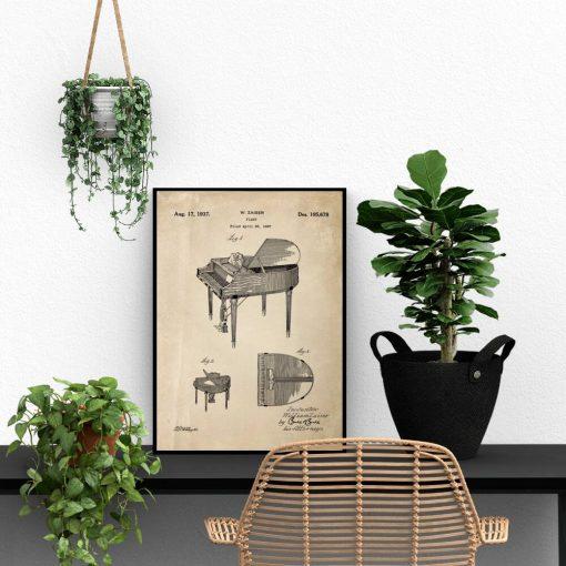 Plakat - Patent na fortepian do gabinetu