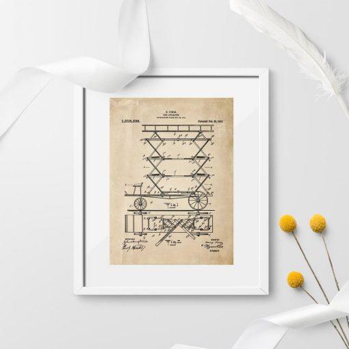 Plakat patent na mechaniczna drabinę pożarniczą