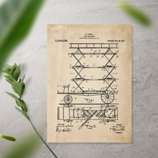 Plakat patent na urządzenie do gaszenia pożaru