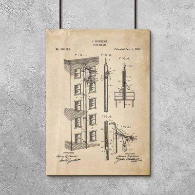 Plakat - patent na wyjście pożarowe