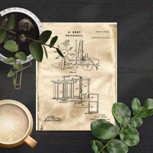 Plakat patent z 1874r. - kombajn