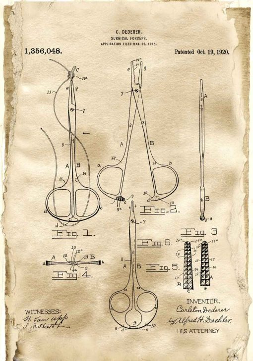 Plakat patentowy - Kleszcze chirurgiczne dla studenta