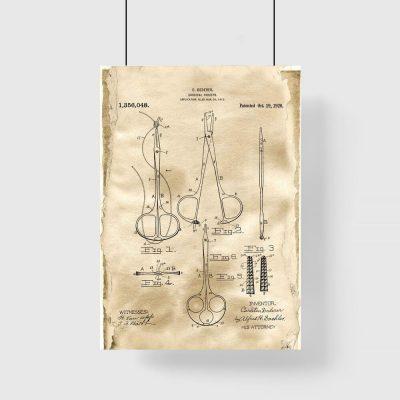 Plakat patentowy - Kleszcze chirurgiczne do gabinetu lekarskiego