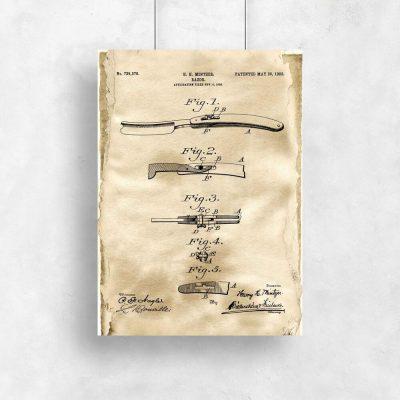 Plakat patentowy z brzytwą do pokoju