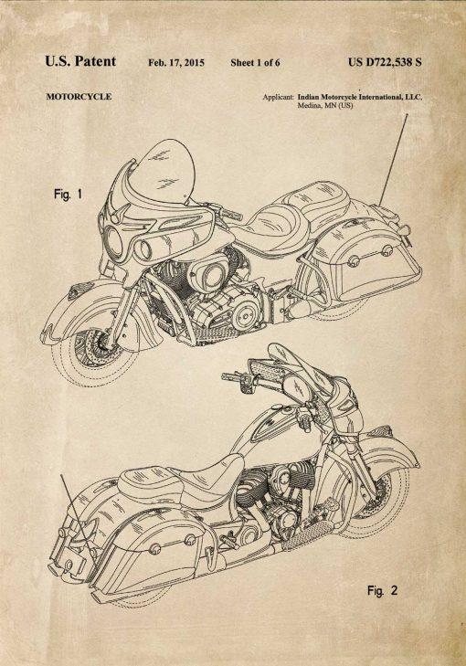 Plakat retro z amerykańskim motocyklem z 2015r.