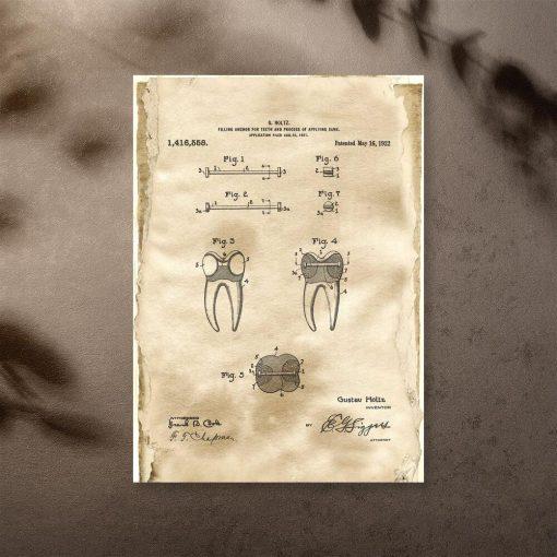 Plakat retro z patentem