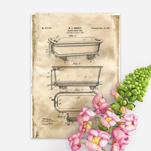 Plakat retro z patentem na budowę wanny