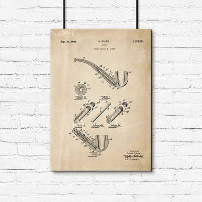 Plakat retro z patentem na fajkę do przedpokoju