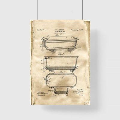 Plakat retro z patentem na wannę