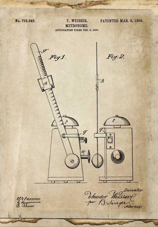Plakat retro z rysunkiem patentowym metronomu z 1904r.