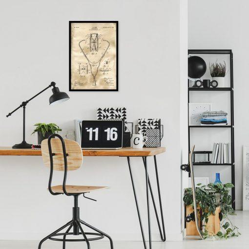 Plakat retro z rysunkiem stetoskopu do biura