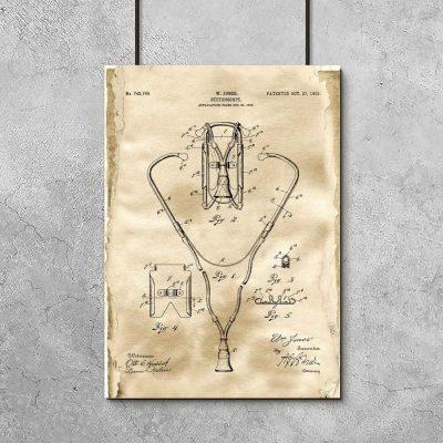 Plakat retro z rysunkiem stetoskopu do gabinetu lekarskiego