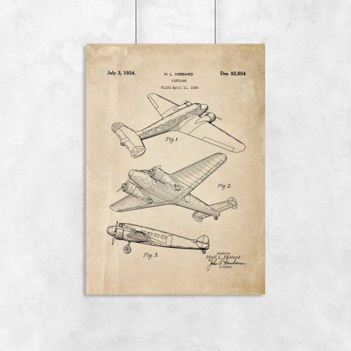 Plakat vintage z samolotem